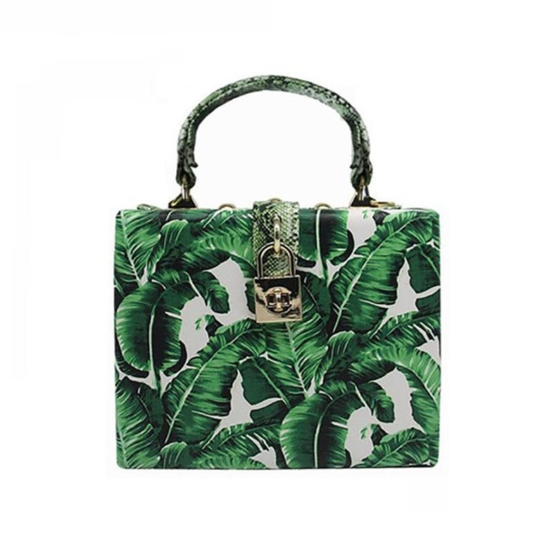 Women Box Bag Tropical Leaves Print Clutch Shoulder Bags