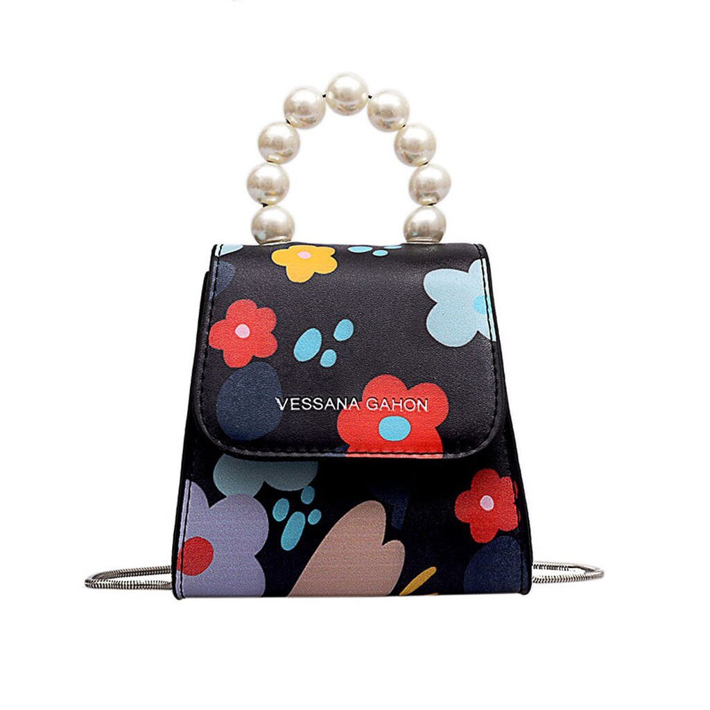 Women Pearl Strap Leather Printing Flower Crossbody Bag Bags