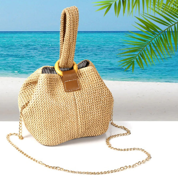 Handwoven Natural Straw Bags Cute Women Rattan Mini Bucket Bags