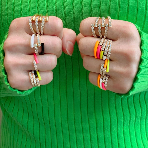 Colorful Neon Ring CZ Rainbow Adjusted Open Finger Stackable Rings