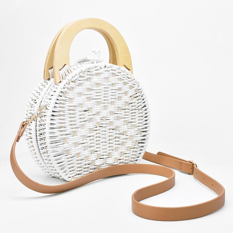 Wooden Handle Rattan Knit Bag Camel White New Straw Bags
