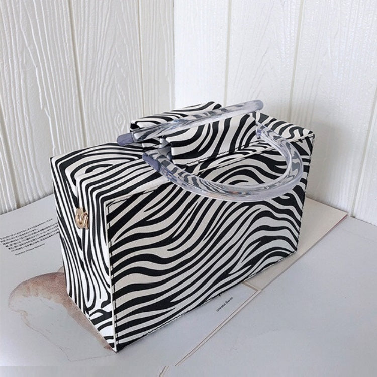 Vintage Fashion Box Bag Zebra Pattern Women Purses Casual Tote