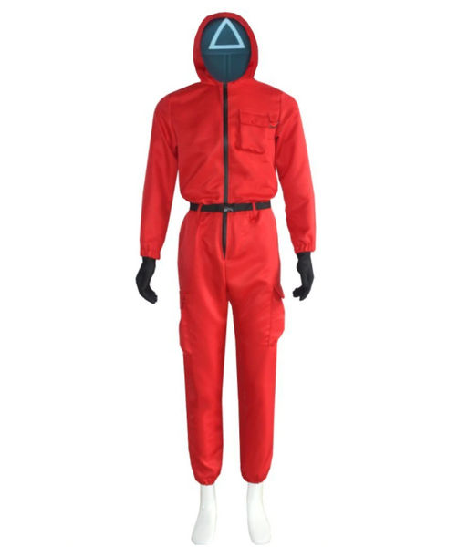Squid Game Guard Costume Masked Halloween Cosplay Party Red Jumpsuits