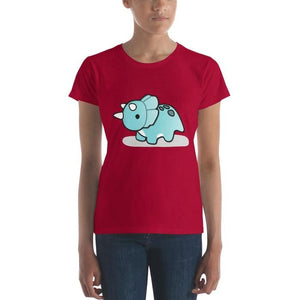 Jurassic Dinosaur Triceratops Basic Short-Sleeve Female T-Shirt Gifts - Our Comfy HQ