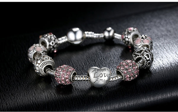 Love and Flower Beads Silver Charm Bracelet Bangle Jewelry Gift - Our Comfy HQ
