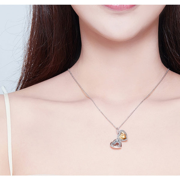 Customized Heart Box Pendant Necklace Women's Wedding Anniversary Gift - Our Comfy HQ