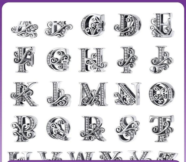 Vintage Design Alphabet Silver Charm Fit Bracelet Bangle Jewelry Gift - Our Comfy HQ
