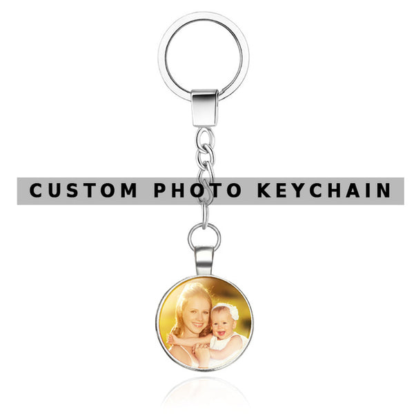 OMGALA DIY Double Side Personalized Custom Keychains Baby Family Lovers Photo Calendar Keyrings Key Chain Rings Holder for Gifts