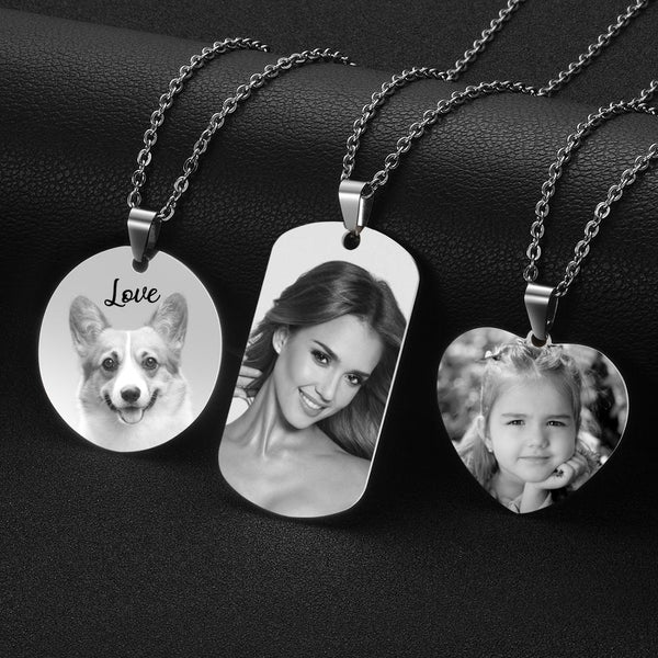 3 Patterns Engrave Photo Name Necklace Pendant Chain for Woman Jewelry - Our Comfy HQ