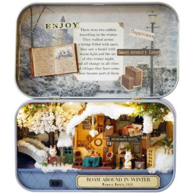 Roam Around in Winter 3D Wooden Miniature Doll House Box Theatre DIY Kits - Our Comfy HQ