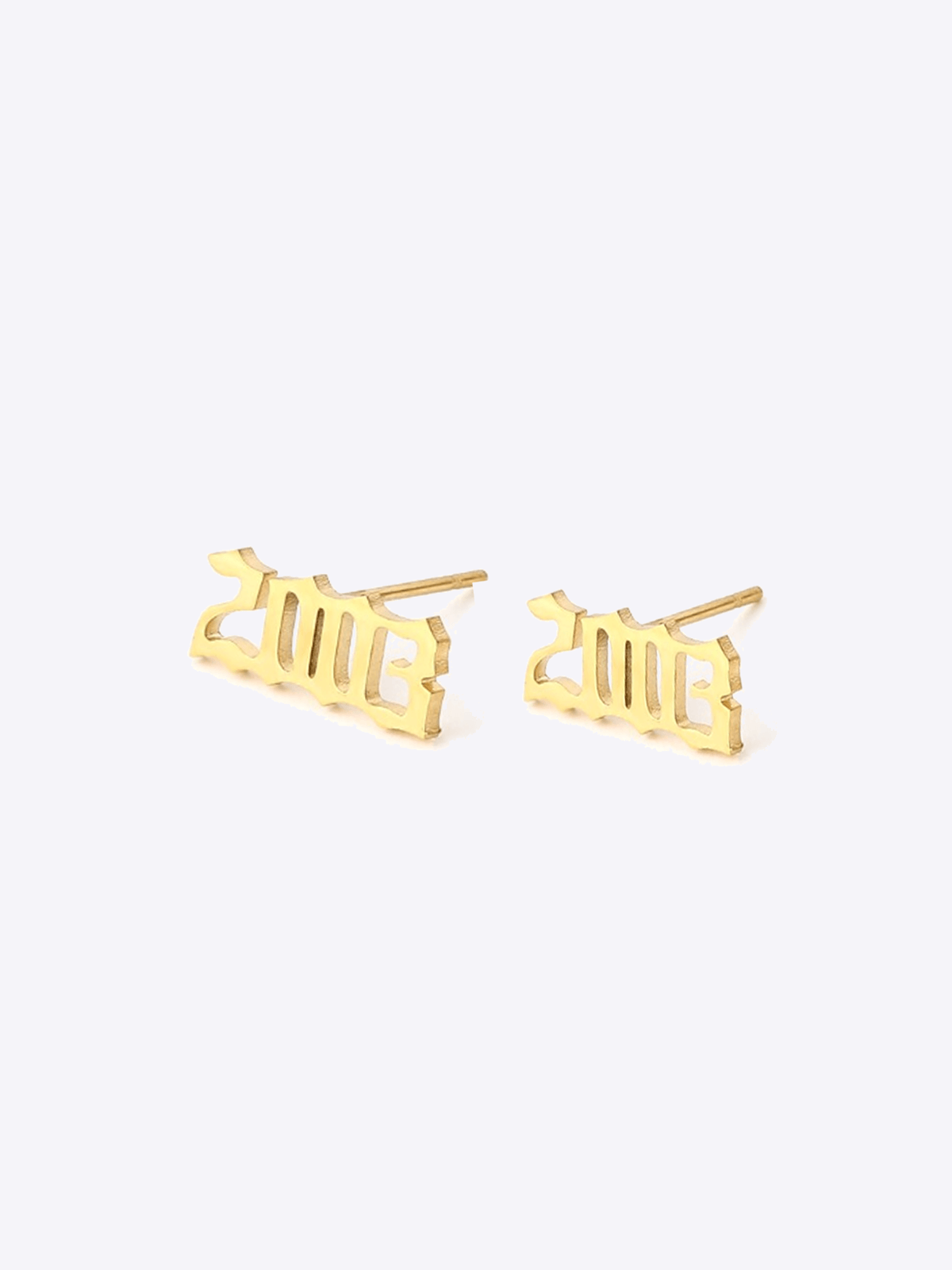 Old English Year Studs - STORMS JEWELRY