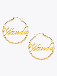 Script Hoop Earrings