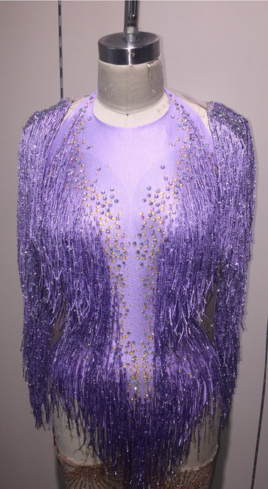Fringe leotard dress purple