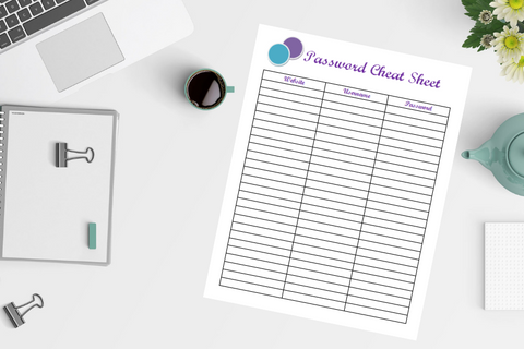 Password Cheat Sheet Printable