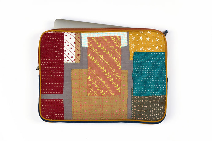 Enchanted Garden Sashiko Laptop sleeve