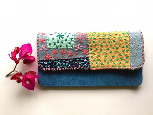 Flowery Crossways Sashiko Wallet