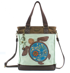 Chala Work Tote Shoulder Bag  Turtle on Teal Stripes