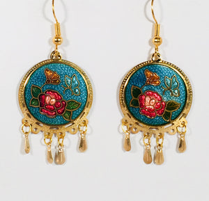 Stefano Vintage Cloisonne dangle double tier earrings, butterflies and flowers, gold plate, Collectible