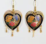 Stefano Vintage Cloisonne dangle double heart butterfly earrings, butterflies and flowers, gold plate, Collectible