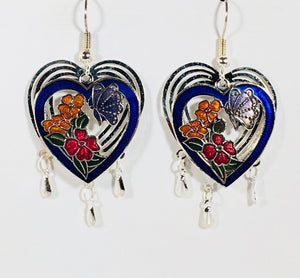 Heart Earrings Stefano Vintage Cloisonne dangle silver plate Factory Prices Collectible