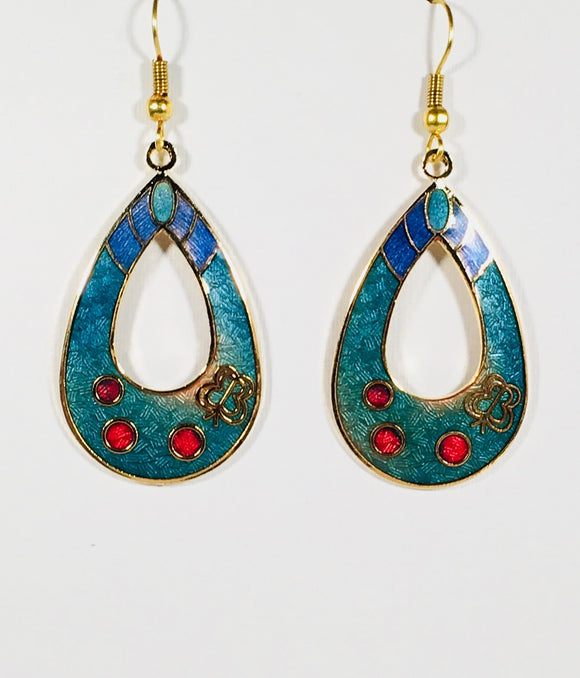 Oval Butterfly Floral Earrings Stefano Vintage ( new ) Cloisonne dangle  silver plate Factory Prices