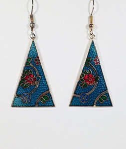 Floral Pyramid Earrings Stefano Vintage (new) cloisonne dangle silver plate Factory Prices  Collectible