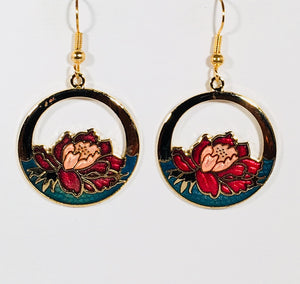 Round Floral Earrings Stefano Vintage ( new ) Cloisonne dangle (drop) gold plate Collectible
