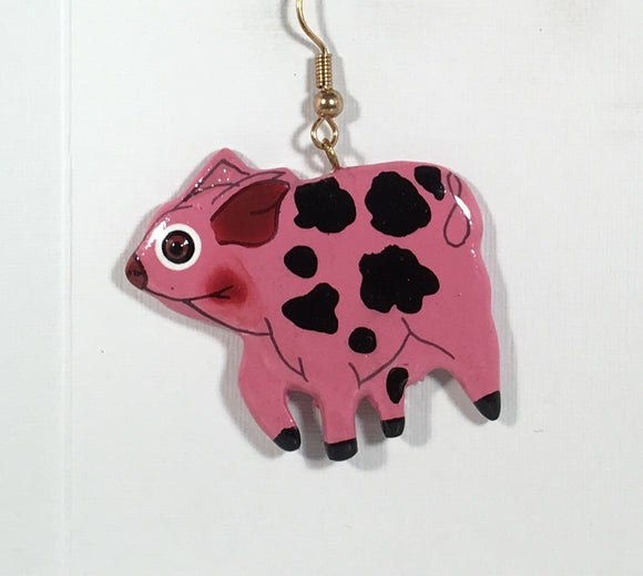 Pig Dangle Earrings Handmade by Stefano Bali Artisans Factory Prices Collectible
