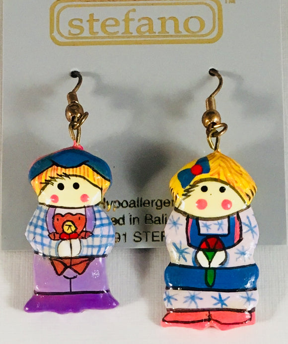 Dutch Boy & Girl Dangle Earrings Handmade by Stefano Bali Artisans Factory Prices Collectible