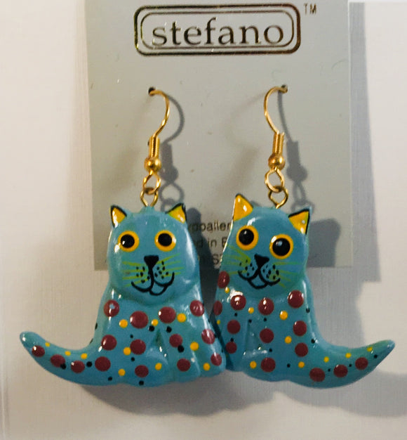 Blue Grey Speckles Cat Dangle Earrings Handmade by Stefano Bali Artisans Vintage Factory Prices Collectible