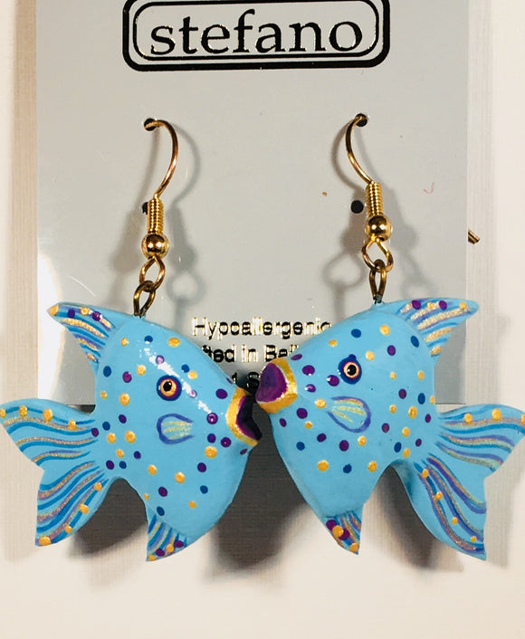 Dreamy Tropical Fish Dangle Earrings Handmade by Stefano Bali Artisans Vintage Factory Prices Collectible