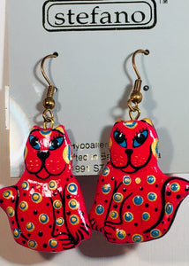 Pattie Cat Dangle Earrings Handmade by Stefano Bali Artisans Vintage Factory Prices Collectible