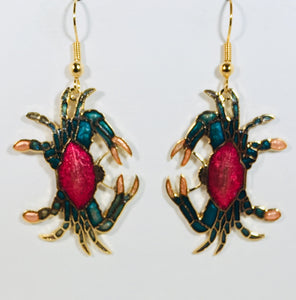 Crab Dangle Earrings Stefano Vintage (new) cloisonne gold plate Factory Prices Collectible