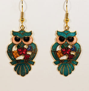 Owl Earrings Stefano Vintage (new) cloisonne dangle earrings, gold plate Collectible