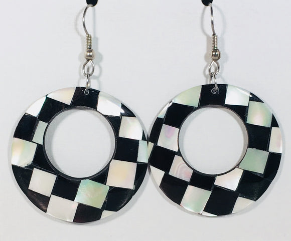 Mother of Pearl Round Dangle Earrings Black & White Handmade by Stefano Bali Artisans Vintage Factory Prices Collectible