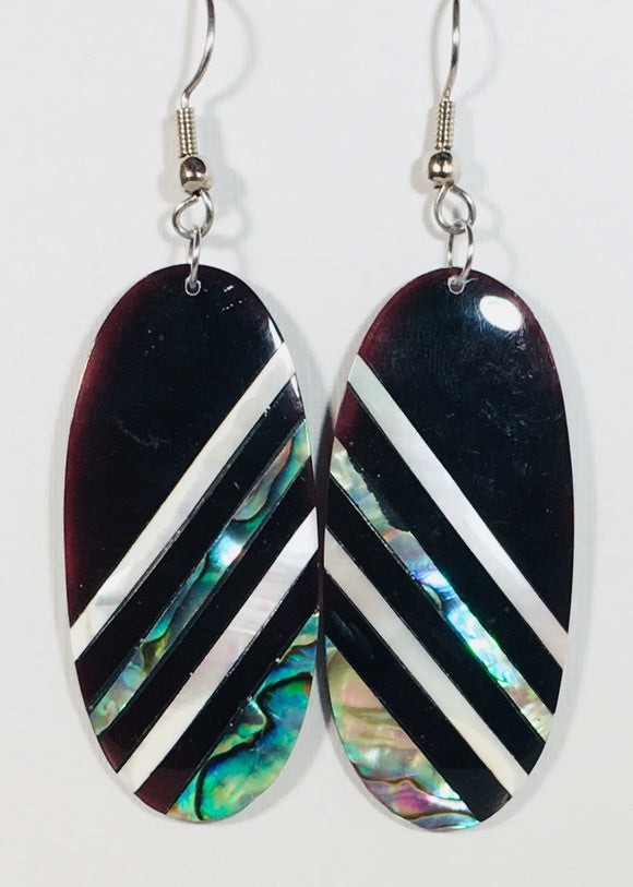 Mother of Pearl Dangle Earrings Black & Silver Handmade by Stefano Bali Artisans Vintage Factory Prices Collectible