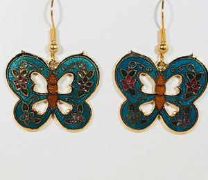 Butterfly Stefano Vintage (new) cloisonne dangle earrings gold plate Factory Direct Collectible