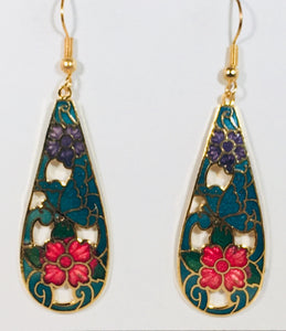 Paisley Stefano Vintage (new) Cloisonne dangle (drop) earrings gold plate Factory Direct Collectible