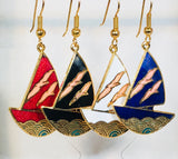 Stefano Vintage (new) Cloisonne dangle (drop) earrings SAILBOAT, gold plate