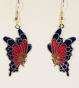 Stefano Vintage (new) Cloisonne dangle (drop) earrings BUTTERFLY, gold plate