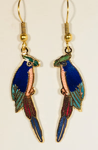 Margaritaville Small Parrot Stefano Vintage (new) cloisonne dangle earrings, gold plate Collectible