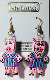 Pink Pig Earrings Handmade by Stefano Bali Artisans Factory Prices Collectible