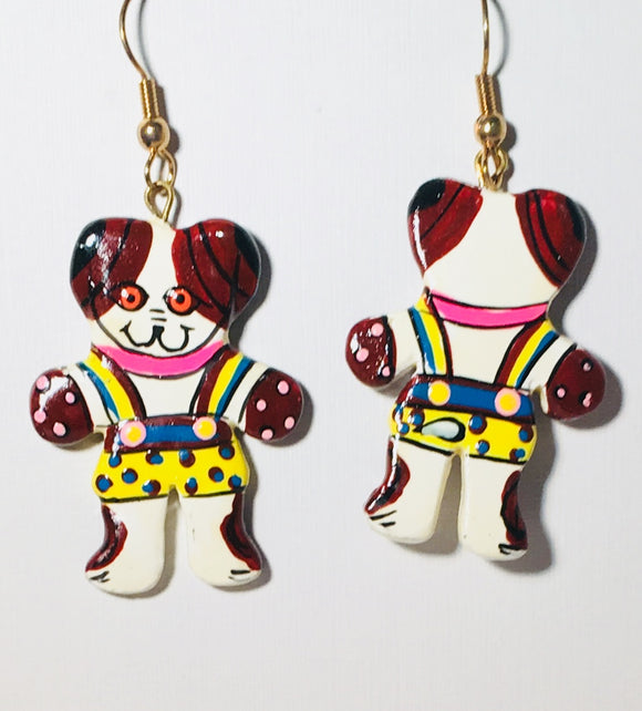 Funky Dog Dangle Earrings Handmade by Stefanp Bali Artisans Vintage Factory Prices Collectible