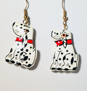 Dalmatian Dog Dangle Earrings Handmade by Stefano Bali Artisans Factory Prices Collectible