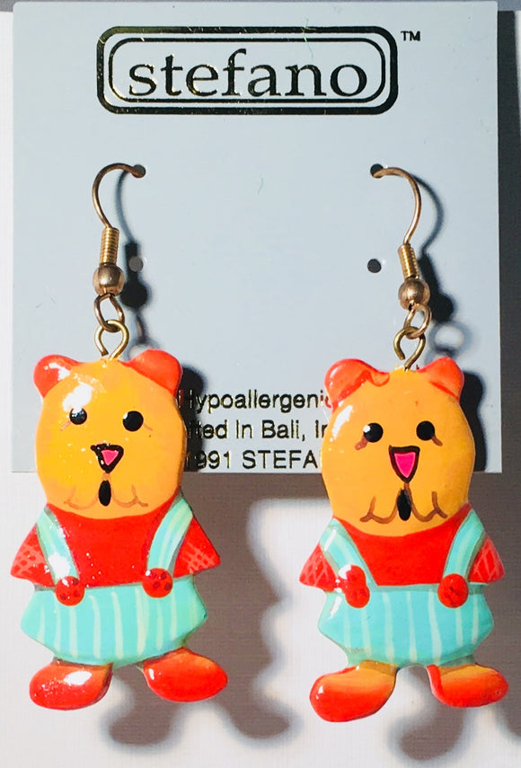 Mr. & Mrs. Teddy Bear Dangle Earrings Handmade by Stefano Bali Artisans Factory Prices Collectible