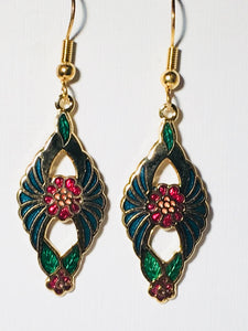 Floral Dangle Earrings Stefano Vintage (new) cloisonne gold plate Factory Direct Collectible