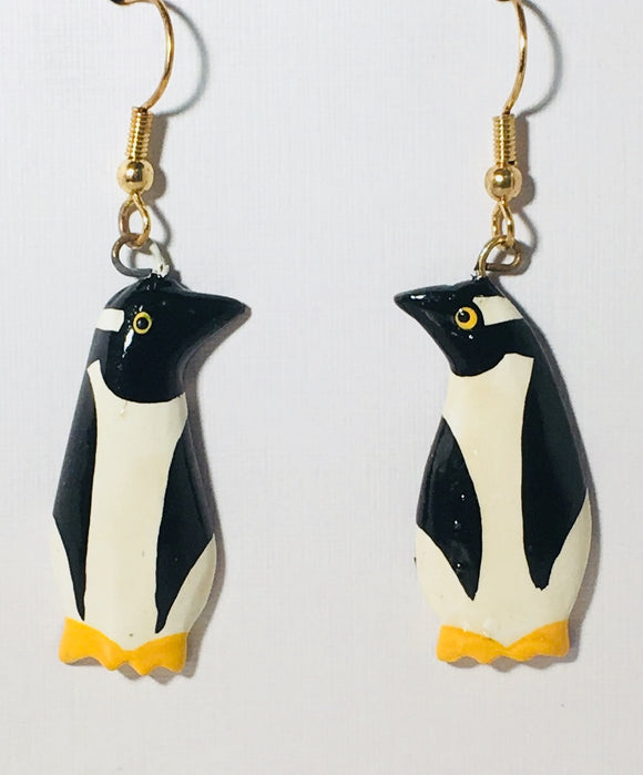 Penguin Dangle Earrings Handmade by Stefano Bali Artisans Factory Prices Collectible