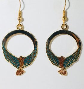 Elegant Bird Stefano Earrings Vintage ( new ) Cloisonne dangle gold plate Factory Prices Collectible