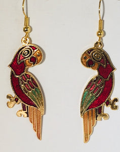 Margaritaville Parrot Stefano Vintage (new) cloisonne dangle earrings, gold plate Collectible