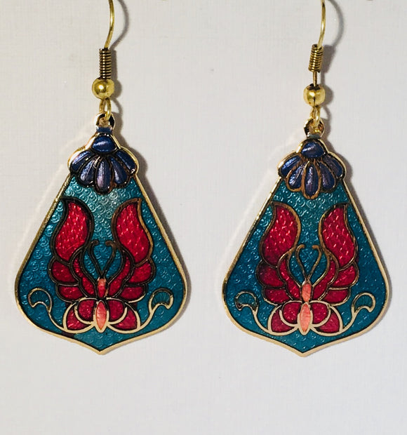 Butterfly Earrings Stefano Vintage (new) cloisonne dangle earrings, gold plate Factory Prices Collectible